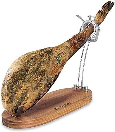 BRICOMIRAS JAMONERO Modelo Plegable Corto (47CM) Giratorio, Regalo Cuchillo + CHAIRA + CUBREJAMÓN, Soporte JAMONERA Ideal para PALETILLAS Y JAMONES (Cubrejamón Verde)