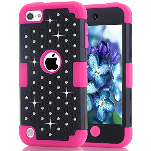 iPod Touch 6 Case, MCUK 3 In 1 Hybrid Cover Silicone Rubber Skin Hard Combo Bumper Scratch-Resistant Case Fit For Apple iPod Touch 5 6th Generation (Black+Rose)