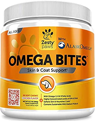 Zesty Paws Omega 3 Alaskan Fish Oil Chew Treats for Dogs - with AlaskOmega for EPA & DHA Fatty Acids - for Shiny Coats & Itch Free Skin - Natural Hip & Joint Support + Promotes Heart & Brain Health