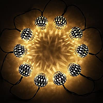 Exlight Waterproof 10 LED Solar Globe String Lights, Fairy Morocco Ball Lights for Christmas Wedding Birthday Party and Garden Lawn Patio, Indoor and Outdoor Décor, 6 Feet, Pack of 2