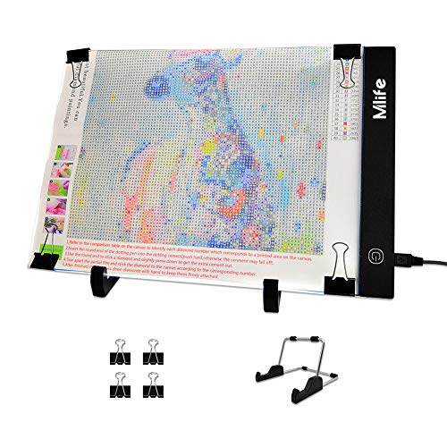 Mlife Diamond Painting A4 LED Light Pad - Dimmable Light Board Kit, Apply to Full Drill & Partial Drill 5D Diamond Painting with Detachable Stand and - Progress Like Lighting Products