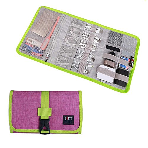 Travel Organizer, BUBM Cable Bag/USB Drive Shuttle Case/Electronics Accessory Organizer-Rose Red