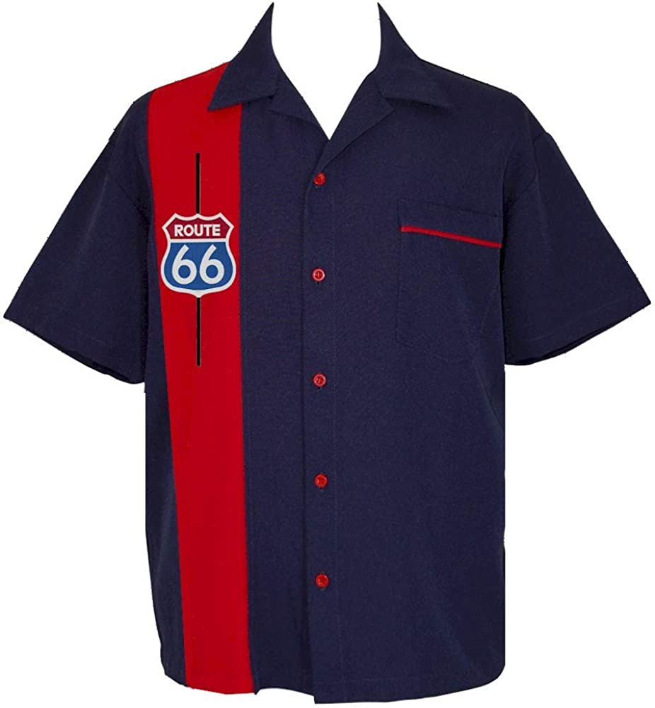 1960s Mens Shirts | 60s Mod Shirts, Hippie Shirts Route 66 Shirt ~ Retro USA Made Hot Rod 50s Navy Red Bowling Shirt $69.95 AT vintagedancer.com