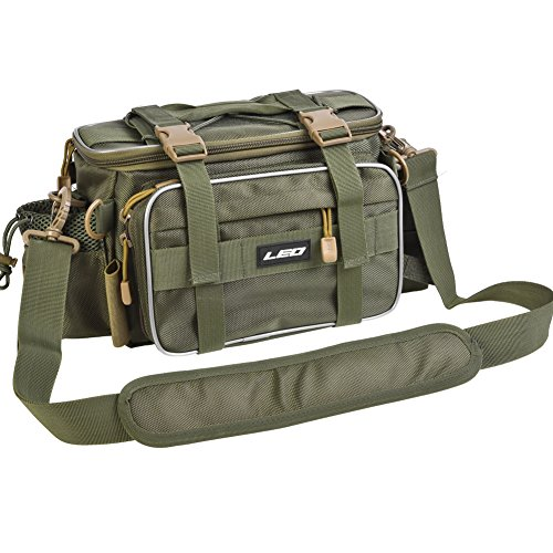 Leo Waterproof Outdoor Multifunctional Fishing Tackle Bag Water-Resistant Shoulder Bag Handbag Waist Bag Fishing Gear Storage for Fishing Hiking Climbing (Green)