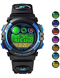 Kids Digital Sport Watch Outdoor Waterproof 7 Colorful...