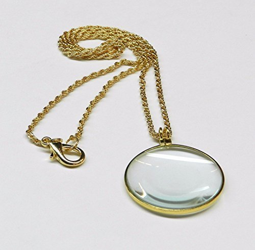 5X READING MAGNIFIER NECKLACE ROUND 1-3 4 GLASS LENS FRENCH ROPE CHAIN GoldTONE by westernb2k