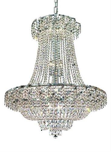 Udell Chrome Modern 18-Light Hanging Chandelier Heirloom Handcut Crystal in Crystal (Clear)-8342D30C-RC--30