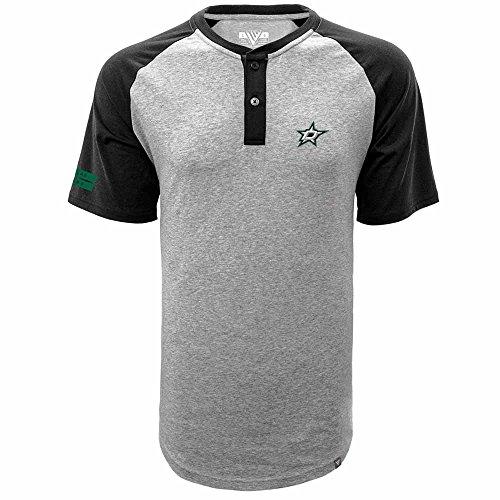- Levelwear NHL Dallas Stars Men's Corporal Chief Henley Short Sleeve Shirt, Heather Pebble/Black, Large