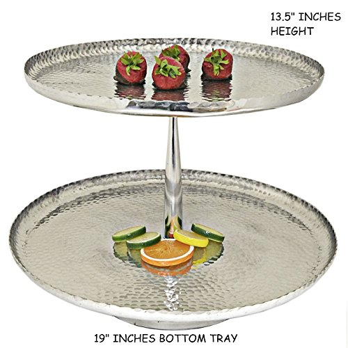 LARGE SILVER ALUMINUM CUPCAKE STAND PARTY DESSERT DISPLAY STAND FOR WEDDING AND PARTY BUFFET (ROUND HAMMERED 2 TIER - Tier Stand Aluminum