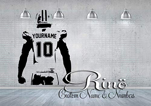 Football Wall Decal - Custom Name American Football Wall art - Choose NAME & JERSEY NUMBERS personalized Large Player jersey Vinyl sticker decor kids boy bedroom]()