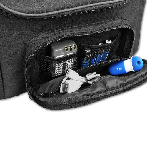 Projector Travel Carrying Case with Customizable Dividers and Accessory Pockets by USA Gear - Works With Small Travel Projectors From BenQ, DBPOWER, Crenova, Optoma, ViewSonic, and More