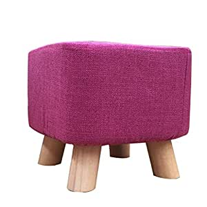 AIDELAI Bar Stool Chair- Solid Wood Change Shoe Stool Footstool Test Shoe Stool Round Upholstered Footstools 4 Wood Leg Pouffes Stool Fabric Cover (Color : # 7)