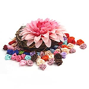 SODIAL 100PCS/Lot Mini Handmade Satin Ro Ribbon Rottes Fabric Flower Appliques For Wedding Decoration Craft wing Accessories 3