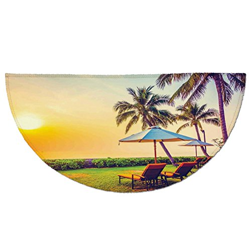 Half Round Door Mat Entrance Rug Floor Mats,Seaside,Empty Umbrella and Chairs on the Beach Palm Trees at Twilight Times Vacation Theme,Multicolor,Garage Entry Carpet Decor for House Patio Grass Water