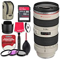 Canon EF 70–200mm f/2.8L USM Lens with 32GB Ultra Pro Speed Class 10 SDHC Memory Card + 3pc Filter Kit (UV-FLD-CPL) + Deluxe Sleeve + Celltime Microfiber Cleaning Cloth - International Version