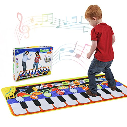 Musical Piano Mat 19 Keys Piano Keyboard Play mat Portable Musical Blanket Build-In Speaker & Recording Function For Kids Toddler Girls Boys]()