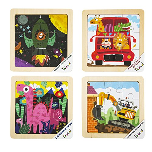 - ROBOTIME Wooden Jigsaw Puzzle Set with Storage Tray - 4 Sets Baby Puzzle - Learning Preschool Toys for Toddlers Age 1 2 3 (Roket, Animal's Journey, Dinosaur Baby, Powerful Excavator)