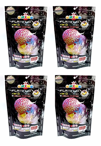 4X OKIKO FLOWERHORN CICHLID FISH FOOD PLATINUM HEAD HUNCHER COLOR FASTER HIGH PROTEIN 3.52 Oz - Waffle Fry Costume