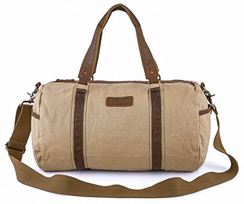 Cheap Gootium Canvas Duffel Bag – Travel Duffle Weekender Shoulder Bags Gym Tote, 45L, Khaki