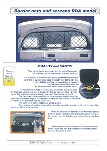Safe Pet Barrier Net and Screen Ergotech RDA65-XXS8 comfortable for your dog guaranteed! Dog Guard for luggage and pets