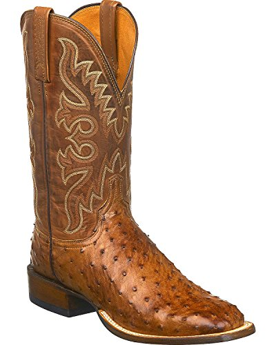 (Lucchese Men's Handmade Harmon Full Quill Ostrich Western Boot Square Toe Tan 7.5 D)