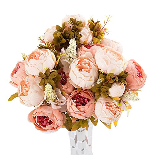 Artificial Peony Silk Flower Leaf 3 Bouquet 24 Heads Arrangements Bridal Home DIY Floor Garden O ...