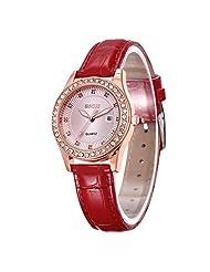 SevenAndEitgh Women's Classic Rose Tone Leather Watch,Luminous Design Red Band Quartz WristWatch