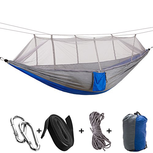 Price comparison product image MIYA LTD Camping Double Hammock With Mosquito Net, Portable Lightweight Backpack Outdoor Garden Hang BED Travel Hiking Camping Swing Survival Hangmat Parachute-A06