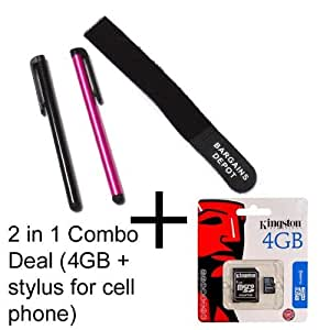 Huawei / T-mobile Tap, T-mobile Comet cell phone Compatible 4GB Micro SDHC Flash Memory Card + SD Adapter - Genuine Kingston with Retail Package - Bargains Depot®