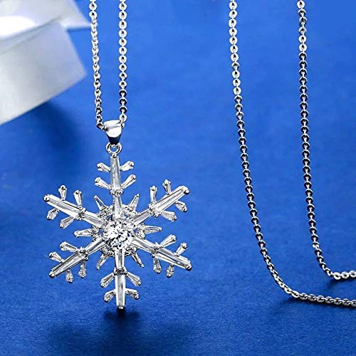 KassarinShop Christmas Crystal Snowflake Pendant Long Necklace Snake Chain White Gold Plated -