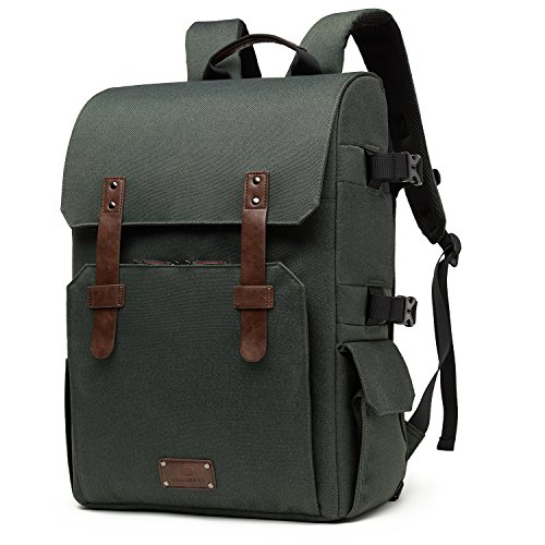 BAGSMART Camera Backpack for SLR/DSLR Cameras & 15.6″ Laptop with Waterproof Rain Cover & Tripod Mount, Green