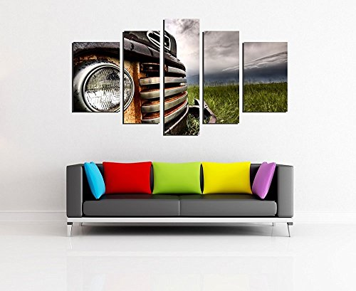 NAN Wind Wall art painting 5 Panel Wall Art Old Vintage Truck On The Prairie Painting Pictures Print On Canvas Car The Picture For Home Modern Decoration piece