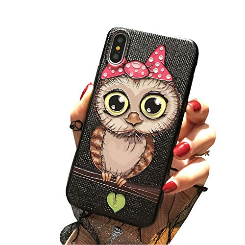 Iphone 7 plus case iphone 8 plus Cover Case Super Cute Cartoon Animal Pattern Soft TPU Bumper Hard PC Back Cover For Girls 360 Degree Protection (pink night owl - 7 plus)
