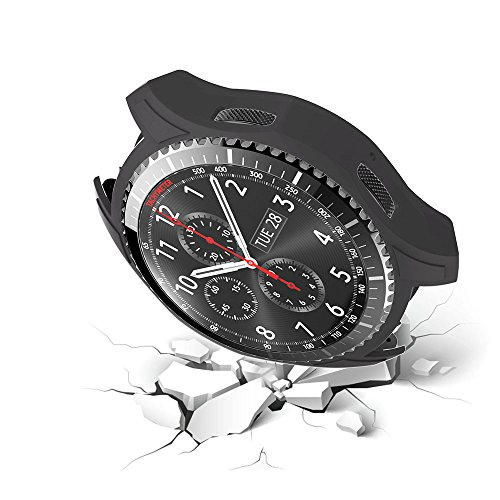 Protective Case Cover for Samsung Gear S3 SM-R760 Shock-Proof Cover Sleeve Watch Cover Slim Designer Sleeve Protector for Samsung Frontier SM-R760 Smartwatch (Black)