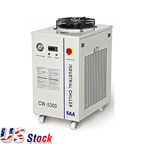 S&A Water Cooling Chiller CW-5300DI Industrial Water Chiller for 1 x 200W CO2 laser, 100W Laser Diode, 75W Solid-state Laser, 18KW CNC Spindle - US Stock
