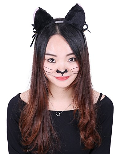 HDE Women's Cat Ear Headband Black Fur with Pink Inserts Ribbon Bow and Jingle Ball Neko Cosplay Costume Headwear Accessory ()