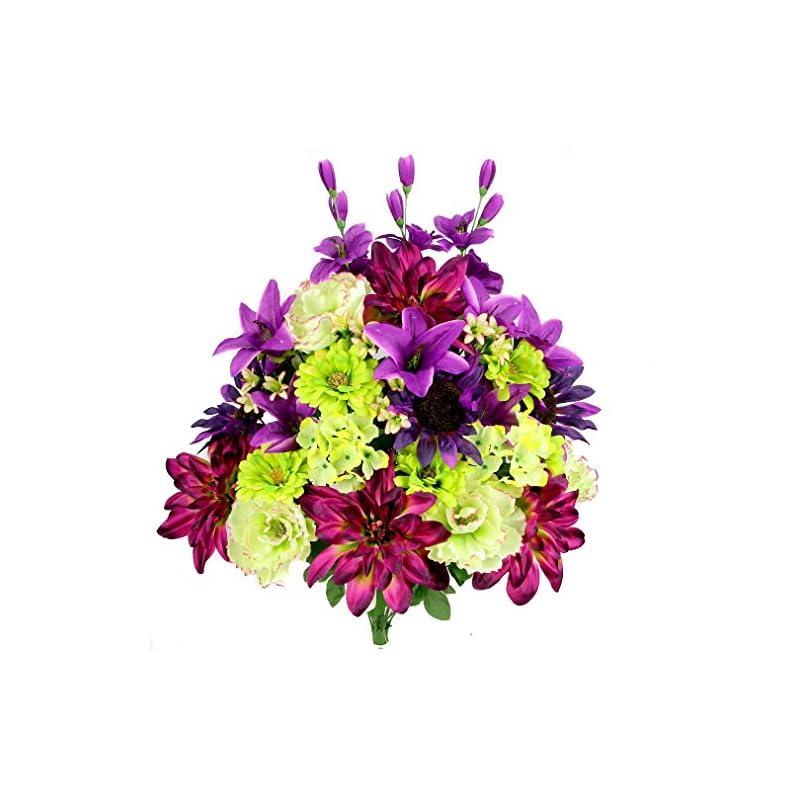 silk flower arrangements admired by nature 36 stems new dahlia, sunflower, peony, hydrangea artificial flower bush, grape mix