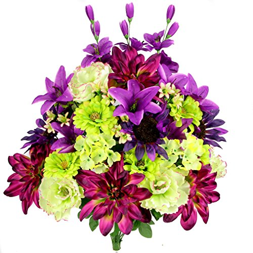 Admired By Nature 36 Stems Artificial New Dahlia, Sunflower, Peony, Hydrangea Mixed Flower Bush with Greenery for Mothers Day, Home, Wedding, Restaurant & office Decoration Arrangement, Grape Mix