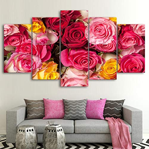40x60 40x80 40x100cm No Frame Framework Living Room Wall Art Pictures HD Printed 5 Piece Pcs color Flowers Modern Oil Painting On Canvas Home Decoration Poster