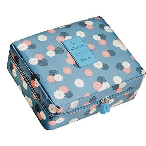 Pensenion Make up Cosmetic Bag Portable Waterproof Travel Toiletry Organizer Storage with Double Zippers(Daisy Blue)