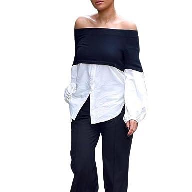 URSING Manches longues Off Shoulder Blouse Femme Chemise T-shirt Sexy  Épaules Blouse Dénudées Manches 4666c826f97e