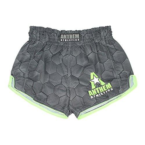 Anthem Athletics NEW! 10+ Styles RECKONER Retro Muay Thai Shorts - Kickboxing, Thai Boxing - Black Hex With Green - Small