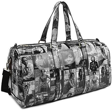 Obama Collection Magazine Print Patent Vegan 20 Duffle Bag