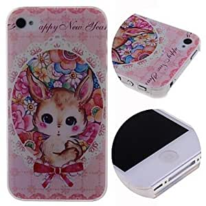 QHY Cartoon Flowers Rabbit Pattern Hard Case for iPhone 4/4S
