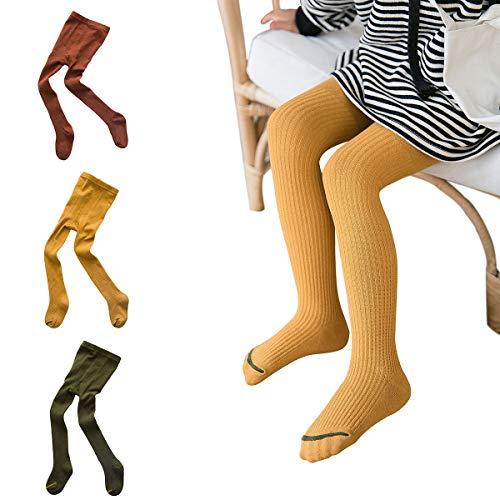 Rallytan Girls Pantyhose Tights Dance Leggings Stockings Pants 3 Pair Pack,Set 1,1-3 years(Small)