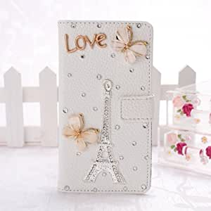 Wkae? Fashion New 3D Bling Crystal Rhinestone Pocket Wallet PU Leather Case Flip Cover Stand for SONY Xperia Sp M36h by Diebell (Tower and Butterfly)