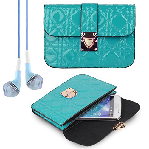 Women's Teal Quilted Clutch Carry Case for Alcatel One Touch Series + VanGoddy Headphones
