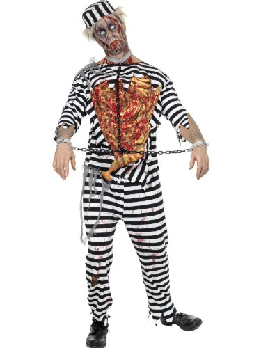 Zombie Convict Fancy Dress Costume Mens Size 38-40 S (Halloween) -