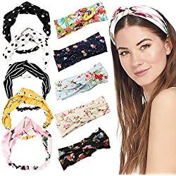 10Pcs Women Head Band,Girls Headwraps Hair Bands, Boho Headbands for Women,Bohemian Floral Style, Vintage Flower Printed Elastic Head Wrap Twisted Hair Accessories
