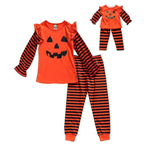 Dress Up As A Girl For Halloween (Dollie & Me Girls' Big Snug Fit Sleepwear Set and Matching Doll Outfit, Orange/Black,)